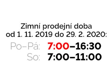 zimní prodejní doba 7:00–16:30