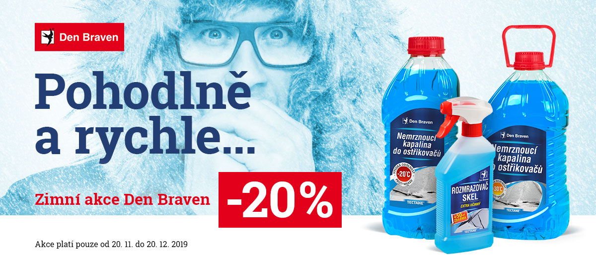 Sleva 20 % na zimní sortiment Den Braven – odstaní námrazu z auta snadno a rychle