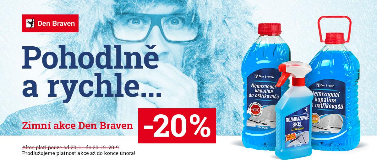 Sleva 20 % na zimní sortiment Den Braven – nemrznoucí směs – stavebniny Rychnov nad Kněžnou, Náchod, Jaroměř, Dobruška
