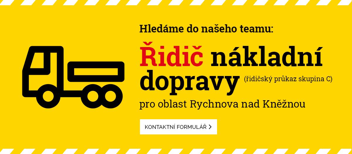 Hledáme řidiče nákladní dopravy (skupina C) pro Rychnov nad Kněžnou